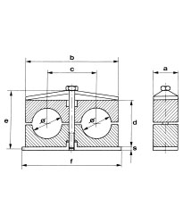 Double clamps in polypropylene, self-extinguishing polyamide or rubber