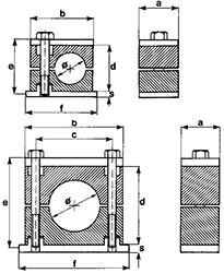 Standard clamps in polypropylene, self-extinguishing polyamide, rubber or aluminium